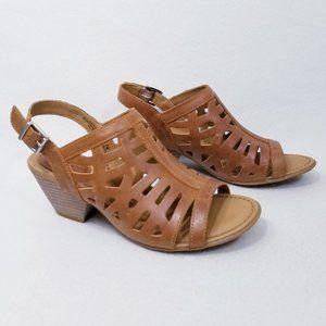 BOC Dixie Open Toe Slingback Mid Heel Tan Sandals w/Cut Outs - 7M - NIB